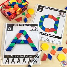pattern block alphabet mats make learning letters and sounds fun and a build those fine motor muscles at the same time perfect handwriting activity for a preschool pre k or kindergarten kiddo 5 - The world's most private search engine Abc Centers, Kindergarten Centers, Preschool Literacy, Kindergarten Reading, Kindergarten Classroom, Kindergarten Activities, Classroom Decor, Kindergarten Morning Work, Childcare Activities