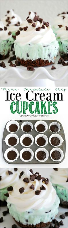 Mint Chocolate Chip Ice Cream Cupcakes from /crystalowens/ will keep you super cool at your summer party! Mini Chocolate Chips, Chocolate Ice Cream Cake, Chocolate Muffins, Chocolate Toppers, Chocolate Mini Cupcakes, Mint Chocolate Chip Cookies, Mint Cookies, Cookies Cupcake, Non Chocolate Desserts