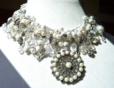 Vintage pearl brooch restyled as bridal statement necklace