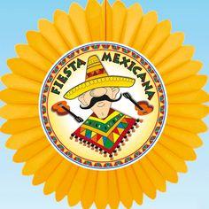 Decoratie waaier van Mexico. Materiaal: papier/karton. Formaat: 60 cm. Brandvertragend.