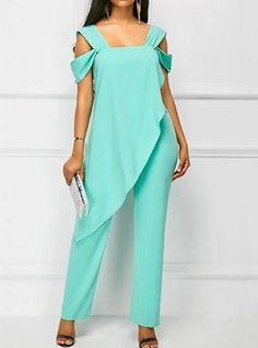 Cheap cheap jumpsuits rompers Jumpsuits & Rompers online for sale Blue Jumpsuits, Jumpsuits For Women, Fashion Jumpsuits, Diy Mode, Mode Chic, Chiffon Ruffle, Overall, Fashion Outfits, Womens Fashion