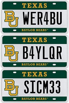 Great way to show your #Baylor pride -- official State of Texas BU license plates!