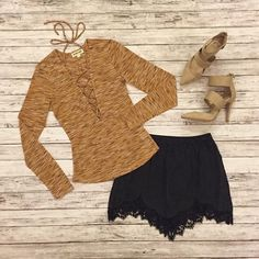 Dijon Lace Up Top Brand new Tops Tees - Long Sleeve