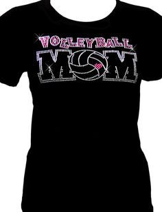 Volleyball Mom Rhinestone Black Fitted Tee - I can make this with my Cameo!
