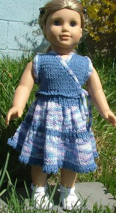 ABC Knitting Patterns - American Girl Doll Sleeveless Wrap Top with Applied I-Cord Parton Grace sport yarn Knitting Dolls Clothes, Ag Doll Clothes, Crochet Doll Clothes, Doll Clothes Patterns, Knitted Doll Patterns, Knitted Dolls, Knitting Patterns, American Girl Crochet, I Cord