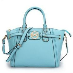 Michael Kors Pebbled Leather Large Blue Satchels Outlet