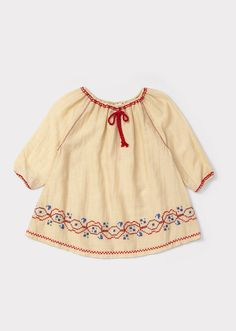 Perilla Baby Dress, Ecru/red Embroidery