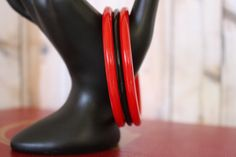 Red Bakelite Bangle Bracelets and Black by ButterflyInTheAttic #ButterflysPin