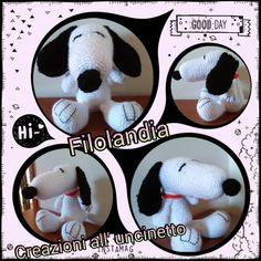 Snoopy creato con la tecnica amigurumi