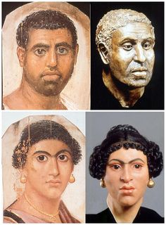 Fayum mummy portraits, left, compared to the reconstructions made from the skulls of the people depicted. The male portrait c AD 80-100, female circa AD 55-70, both from Hawara, now in the British Museum. What is so wonderful is how the flat and stylised portrait suddenly leaps alive as a very just representation of the person beneath.