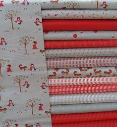MODA A Walk in the Woods Red Grey Children Boy Girl Fabric Fat Quarter Bundle 13