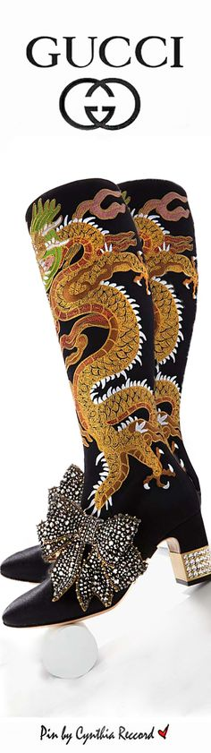 Gucci Candy Dragon Embroidered Block Heel Knee Boot | PF 2017 | cynthia reccord