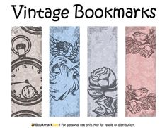 Free printable vintage bookmarks. Download the PDF template at http://bookmarkbee.com/bookmark/vintage/