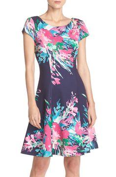 Eliza J Floral Print Scuba Fit & Flare Dress (Regular & Petite) | Nordstrom
