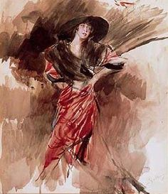 Lady in Red Clothing - Giovanni Boldini Giovanni Boldini, Italian Painters, Italian Renaissance, Illustrations, Pencil Portrait, Great Artists, Lady In Red, Cross Stitch Patterns, Fine Art