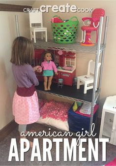 Your kids and American Girl dolls will love this easy DIY American Girl doll Apartment! via Your kids and American Girl dolls will love this easy DIY American Girl doll Apartment! American Girl Storage, American Girl House, American Girl Doll Room, American Girl Furniture, American Girl Parties, Girls Furniture, American Girl Crafts, Doll Furniture, American Dolls