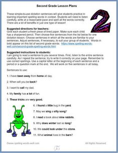 Use these second grade lesson plans for language practice and spelling success! These grade-specific dictation lessons provide fun practice in writing and spelling correctly. Full directions and printable page are included. 2nd Grade Spelling Words, Second Grade, Grade 2, 2nd Grade Classroom, In Writing, Teaching Reading, Reading Comprehension, Learn English, Lesson Plans