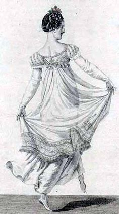 fashion plate of sheer Regency gown for a ball.  Go to http://www.vintagevictorian.com/costume_1810.html for more information.