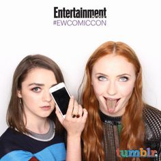 Maisie Williams and Sophie Turner, 'Game of Thrones' #EWComicCon