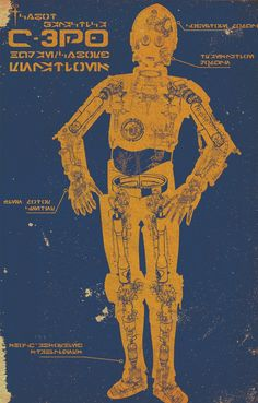 C-3PO Schematic Poster by The Daily Robot / Miles Donovan, via Etsy.