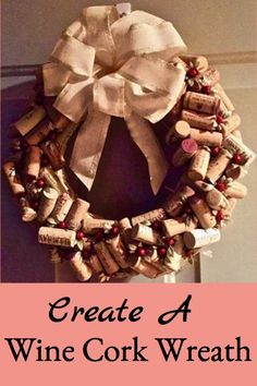 Create a beautiful holiday wine cork wreath for decorating or gift giving.