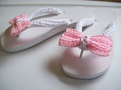 Cafe Crochet Designs Customized Flip Flops (Pink Ribbon for Breast Cancer)