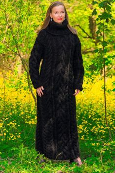 BLACK hand knitted long mohair sweater dress SUPERTANYA fuzzy thick gown ON SALE | Clothing, Shoes & Accessories, Women's Clothing, Sweaters | eBay!