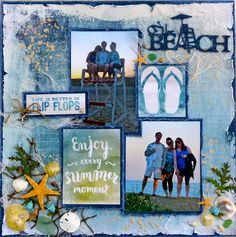On The Beach - Kaisercraft - Sandy Toes Collection Beach Scrapbook Layouts, Vacation Scrapbook, Wedding Scrapbook, Scrapbook Sketches, Scrapbook Albums, Scrapbooking Layouts, Scrapbook Cards, Scrapbook Designs, Proud Mom Quotes
