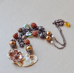 Necklace with electroformed cherry flower and от ChechelArt