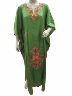 Amazon.com: Kaftans Olive Green Poly Silk Kashmir Crewel Embroidered Caftans Free Size: Clothing