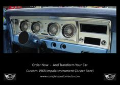 Custom 68 Impala Instrument Custer Bezel Lowrider, Impala, Chrome Plating, Custom Cars, Convertible, Instruments, Truck, Classic, Vehicles