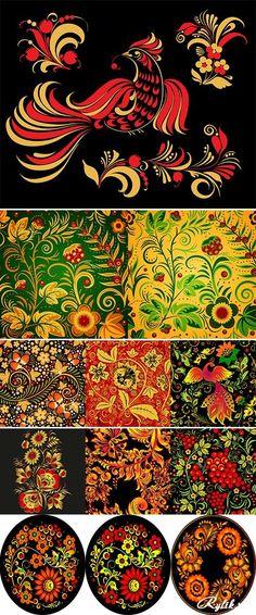 Хохлома вектор - красивые узоры для росписи. Stock: Hohloma floral pattern vector