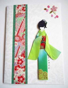 "All-purpose handmade card 50 made from Thai card stock; Japanese card stock; yuzen washi panel; Japanese flower/petal stickers; kimono (origami paper with yuzen washi cutout on lower part); obi (yuzen washi); viscose cord on obi; hair (crepe paper); hair decor (nail art sticker and Indian ""bindi"")."