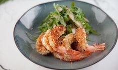 8 large green king prawns, peeled, deveined, tails intact ¼ cup plain flour 1 egg ½ cup panko crumbs 3 tbsp lemon & herb dukkah Vegetable oil, for shallow… Seafood Dishes, Seafood Recipes, Panko Crumbs, Pear Salad, Lemon Herb, Balsamic Dressing, Cooking For Two, Best Chef, Gourmet