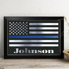 Personalized Police Officer Gift Thin Blue Line Flag Law Enforce sign Real Foil Print >>> Want to know more, click on the image.Note:It is affiliate link to Amazon.