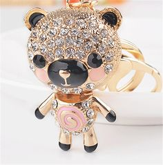 New Arrival Exquisite Crystal Keychains Novelty Items Enamel Lovely Bear Keyrings Creative Jewelry For Women Gift Purse Bag(China (Mainland))
