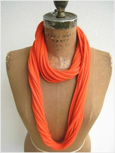 Recycled T Shirt Necklace / Tangerine Orange / Long Short by ohzie