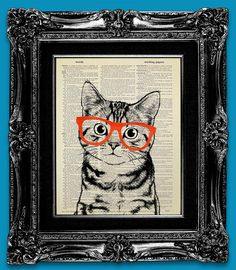Tabby Cat Art Print on Dictionary Art Print, Upcycled Book Art Cat Portrait Cat Poster Nerd Art Cat Painting - Cute Cat with Hipster Glasses $10.00