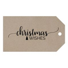 Faux Kraft Simple Calligraphy Christmas Name Gift Tags - holidays diy custom design cyo holiday family
