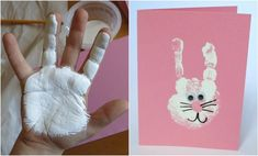 handabdruck-bilder-kinder-ostern-hase-weiss-wackelaugen-grußkarte autour du tissu déco enfant paques bébé déco mariage diy et crochet Bunny Crafts, Easter Crafts For Kids, Toddler Crafts, Preschool Crafts, Toddler Activities, Diy For Kids, Children Crafts, Easter Decor, Easter Activities