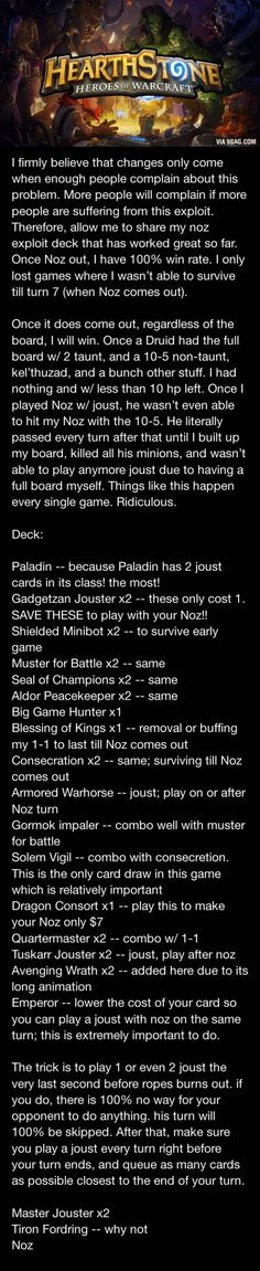 Some guy just created a noz joust deck with 70% win rate