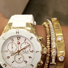 Stylish Gold Bracelet and Watch