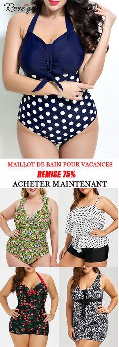 b7c925aec67a Maillot de bain tendance 2019 pour vacances Tankini modeste de grande  taille  Rosegal  tankini  mode  femme  vacances