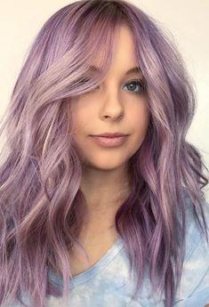 Women Hairstyles Drawing 55 Dreamy Lilac Hair Color Ideas: Lilac Hair Dye Tips - Glowsly.Women Hairstyles Drawing 55 Dreamy Lilac Hair Color Ideas: Lilac Hair Dye Tips - Glowsly Lilac Hair Dye, Hair Color Purple, Cool Hair Color, Pink Hair, Purple Tips, Lilac Color, Pastel Purple Hair, Two Color Hair, Light Purple Hair