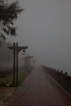 Point Clear, Alabama ~ a foggy night with Mobile Bay directly to the right