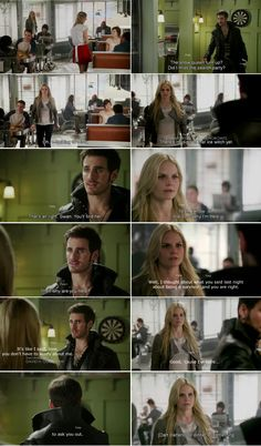 """Good, 'cause I'm here to ask you out. To dinner or something."" Emma and Hook - 4*4 ""The Apprentice."" #CaptainSwan"