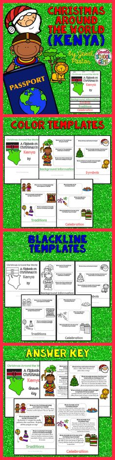 """CHRISTMAS AROUND THE WORLD (KENYA)  Engage your students with this Christmas Around the World Activity: """"A Research Flipbook on Christmas in Kenya"""".  This resource contains: *5 pages of color templates *5 pages of black and white templates *5 pages with answers to the questions (Answer Key)  Children will learn about Christmas traditions and celebrations in Kenya in a fun and interactive way with this flipbook research project!"""