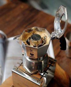 Italian Moka Pot style with the Bialetti Brikka. Shop Link in Bio by Coffee Geek, Coffee Cafe, Coffee Drinks, Coffee Shop, Espresso Love, Espresso Maker, Coffee And Books, I Love Coffee, Bialetti Espresso