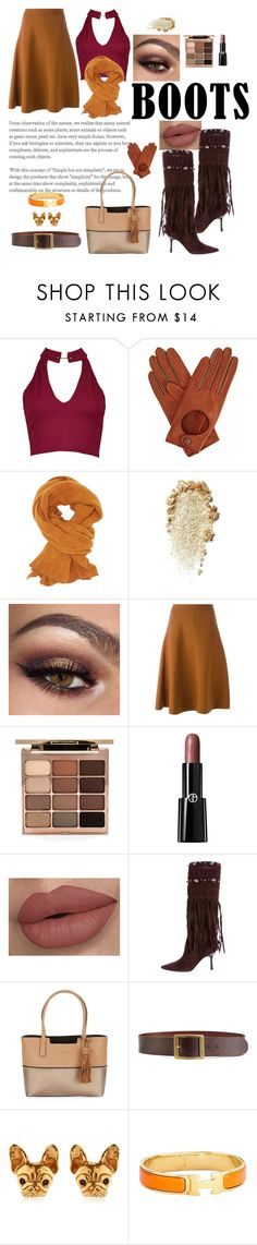 """""""Jimmy Choo boots"""" by janehappy ❤ liked on Polyvore featuring Boohoo, Gizelle Renee, Charlotte Russe, Marni, Stila, Giorgio Armani, Jimmy Choo, Calvin Klein, Frame and Hermès"""