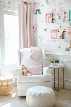 Our beautiful floral nursery that is bright and airy with pops of pink! Baby Emma is here so I'm excited to finally share her nursery reveal! White Nursery, Nursery Room, Girl Nursery, Girl Room, Girls Bedroom, Floral Nursery, Pink Curtains Nursery, Blush Nursery, Nursery Decor